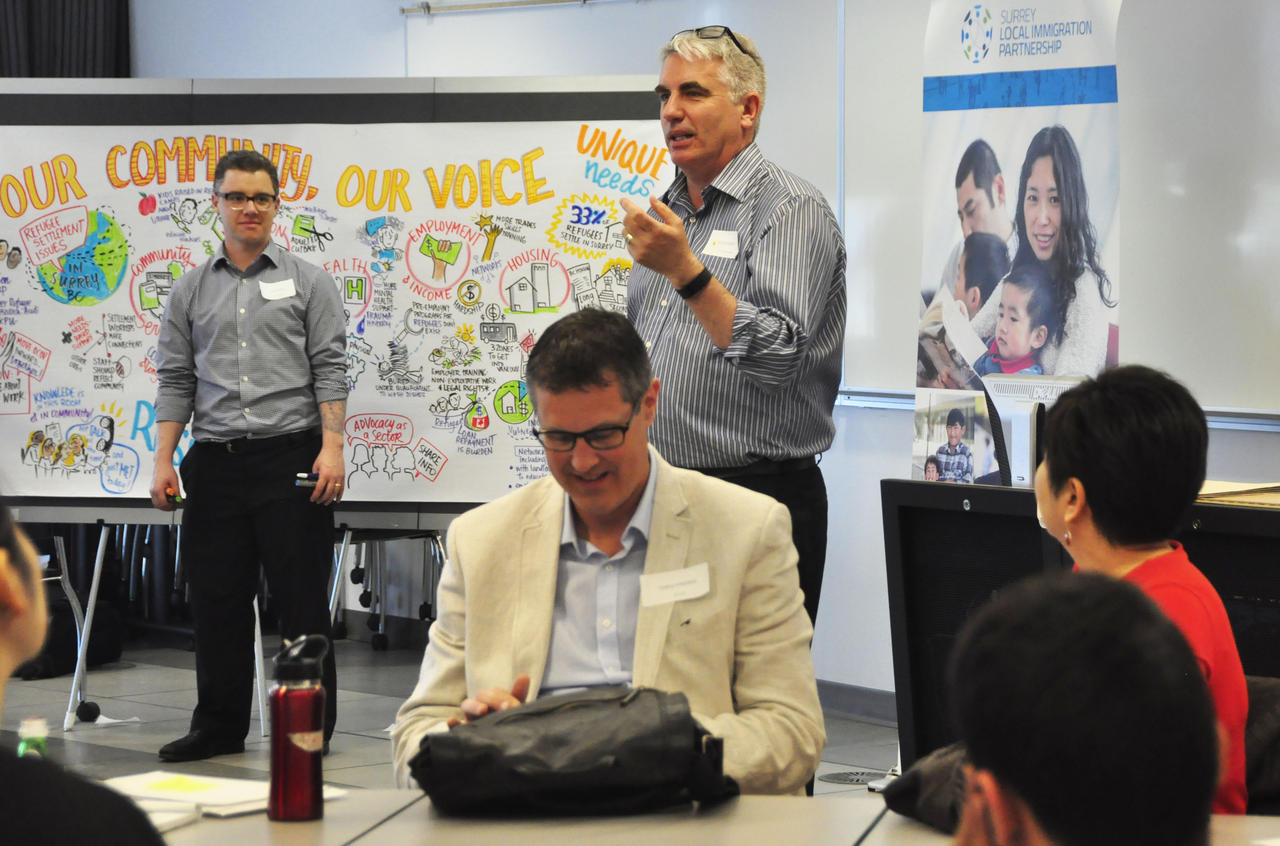 Graphic recording in the background and Executive Director of SFU Stephen Dooley speaking