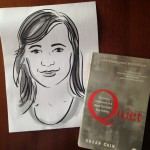 Portrait of Susan Cain with her book Quiet by sam bradd