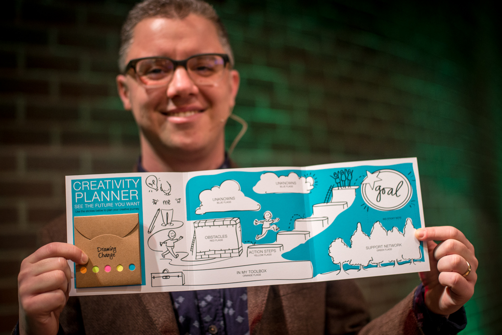 sam bradd holding up a creativity planner visual template