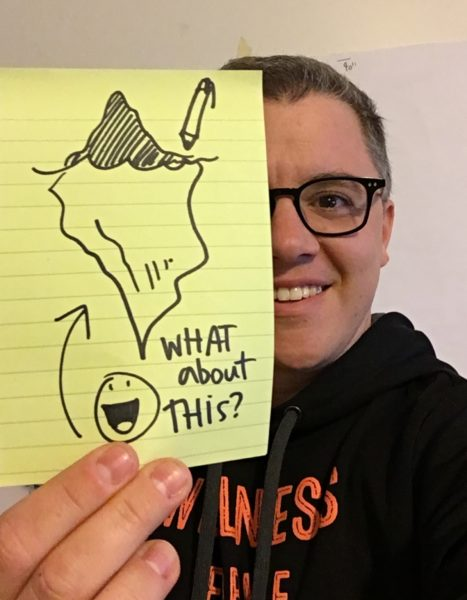 graphic facilitation drawing with diversity picture of sam bradd holding up a post it note with an iceberg on it